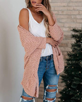 Pink Loose bat sleeve pocket cardigan sweater