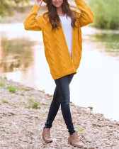 Yellow Solid color mid-length thick-knit sweater