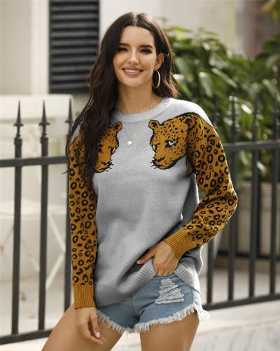 Gray Two leopard head sweaters
