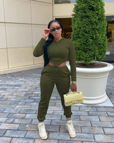 Army green Slim waist high elastic cotton sports two-piece suit