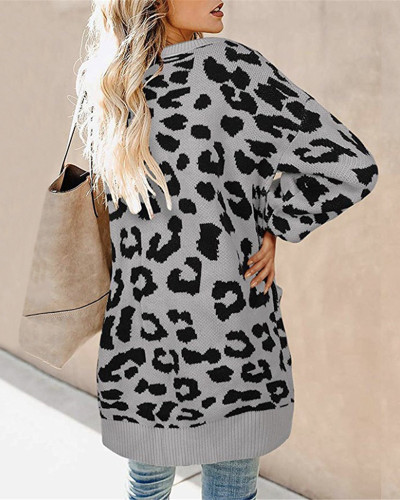 Gray Lantern sleeve button leopard print cardigan sweater