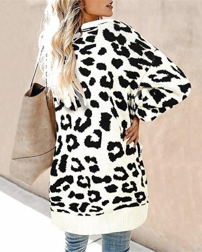 White Lantern sleeve button leopard print cardigan sweater