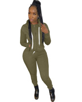 Army green Casual hooded sweatshirt sports suit two-piece suit