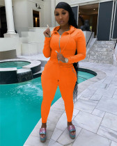 Orange Hooded zipper stretch sports and leisure two-piece suit