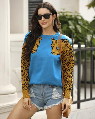 Blue Two leopard head sweaters