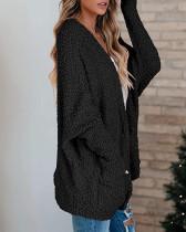 Black Loose bat sleeve pocket cardigan sweater