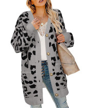 Gray Lantern sleeve button leopard print cardigan sweater