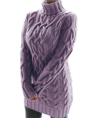 Purple Retro thick line twist sweater dress