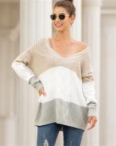 Khaki V-neck off-shoulder twist color-block pullover sweater