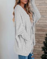 Whie Loose bat sleeve pocket cardigan sweater