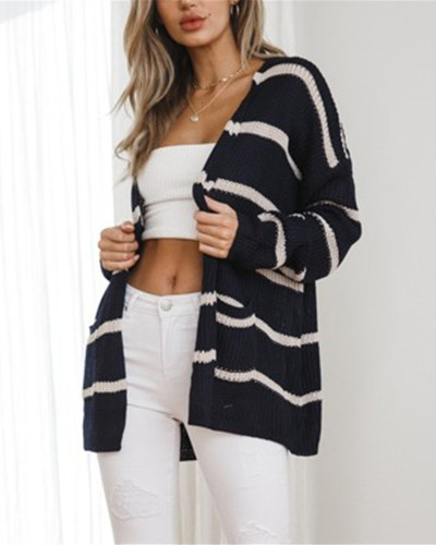 Blue Fashion mid-length striped knitted cardigan