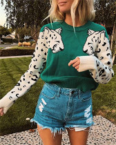 Green Two leopard heads color-block sweater