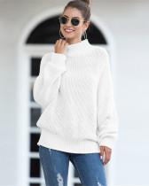 White Hemming high neck bat sleeve sweater