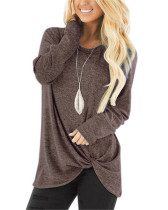 Coffee Long-sleeved T-shirt twisted top