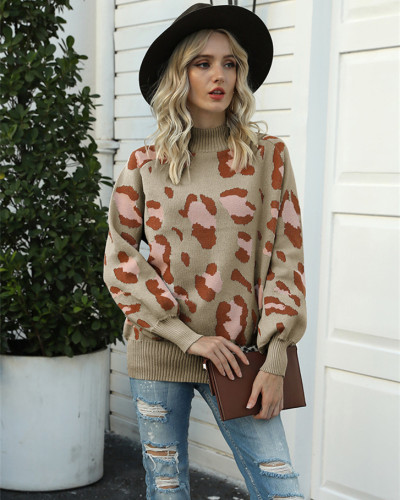 Khaki High neck lantern sleeve leopard sweater