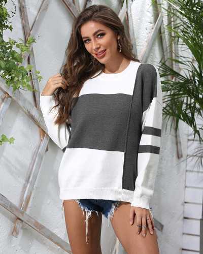 Gray Patchwork crew neck pullover sweater