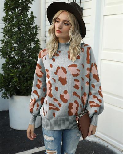 Gray High neck lantern sleeve leopard sweater