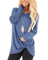 Light bule Long-sleeved T-shirt twisted top