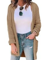 Khaki Pure Color Waffle Check Pocket Knit Cardigan Jacket