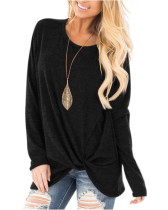 Black Long-sleeved T-shirt twisted top