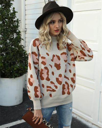 Apricot High neck lantern sleeve leopard sweater