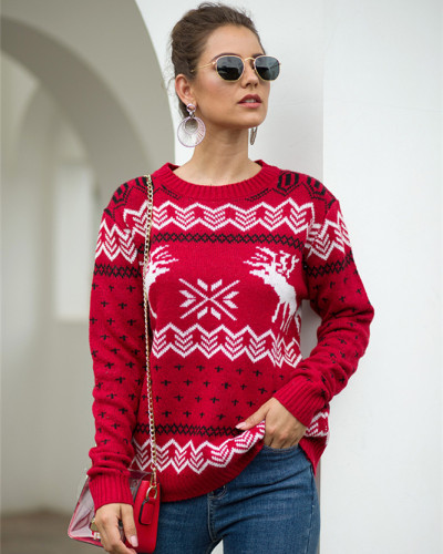 Red Fawn Jacquard Long Sleeve Pullover