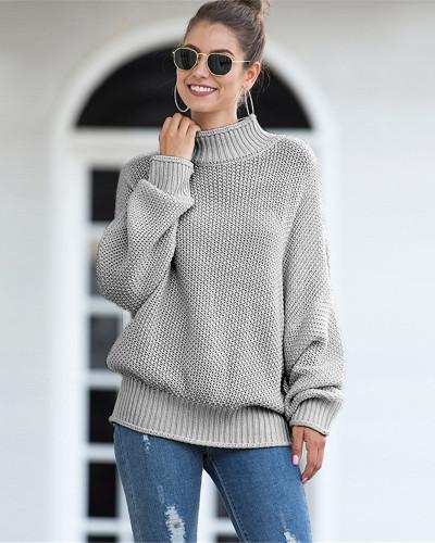 Gray Hemming high neck bat sleeve sweater