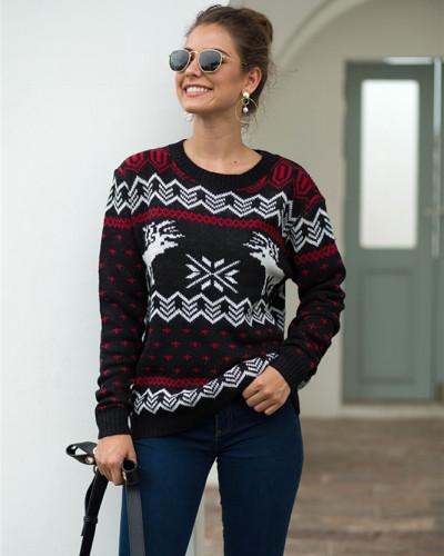 Black Fawn Jacquard Long Sleeve Pullover