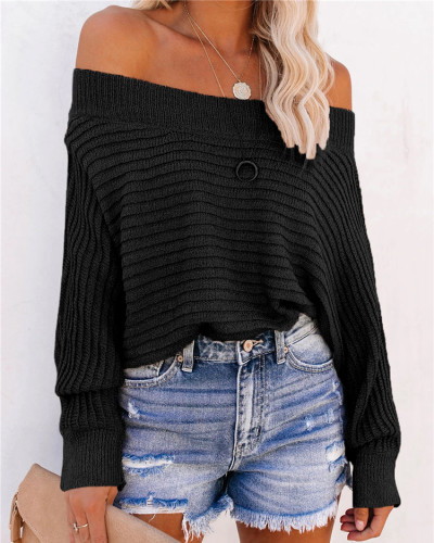 Black Pit striped bat sleeve off-shoulder sweater