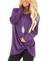 Violet Long-sleeved T-shirt twisted top