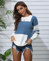 Blue Patchwork crew neck pullover sweater