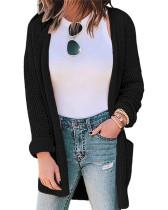 Black Pure Color Waffle Check Pocket Knit Cardigan Jacket