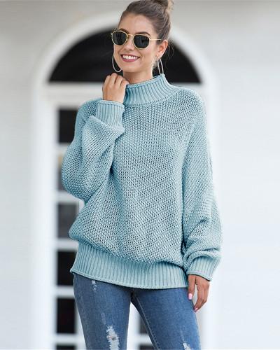 Blue Hemming high neck bat sleeve sweater