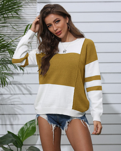 Yellow Patchwork crew neck pullover sweater