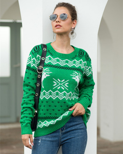 Green Fawn Jacquard Long Sleeve Pullover