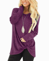 Long-sleeved T-shirt twisted top