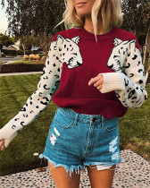 Red Two leopard heads color-block sweater