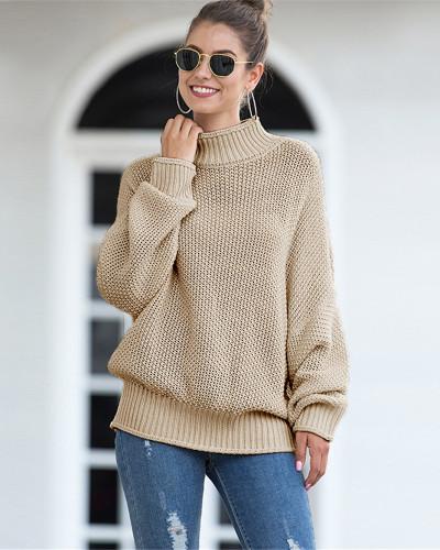 Khaki Hemming high neck bat sleeve sweater