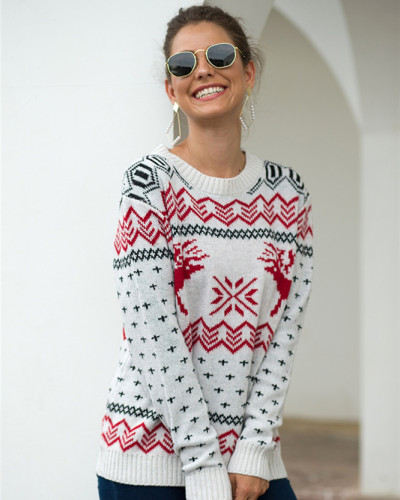 White Fawn Jacquard Long Sleeve Pullover