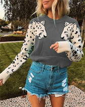 Gray Two leopard heads color-block sweater