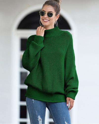 Green Hemming high neck bat sleeve sweater