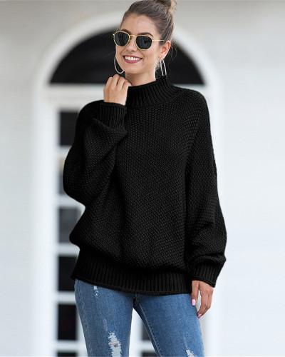 Black Hemming high neck bat sleeve sweater