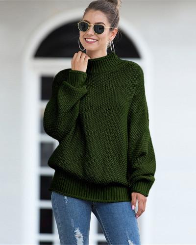 Dark Green Hemming high neck bat sleeve sweater