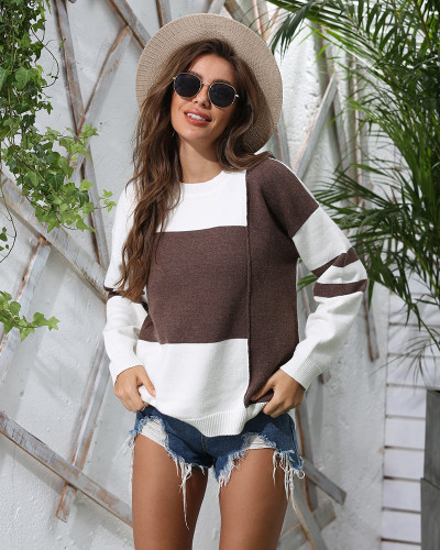 Brown Patchwork crew neck pullover sweater