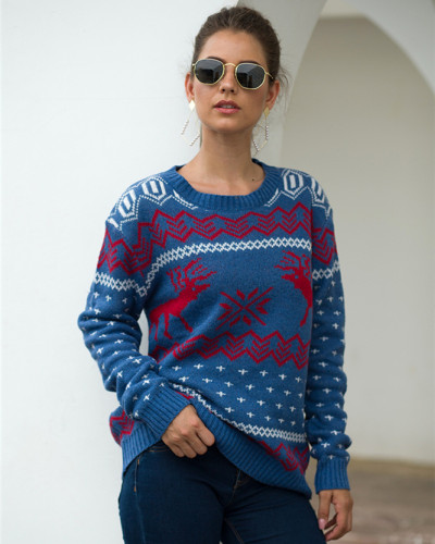 Blue Fawn Jacquard Long Sleeve Pullover