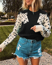 Black Two leopard heads color-block sweater