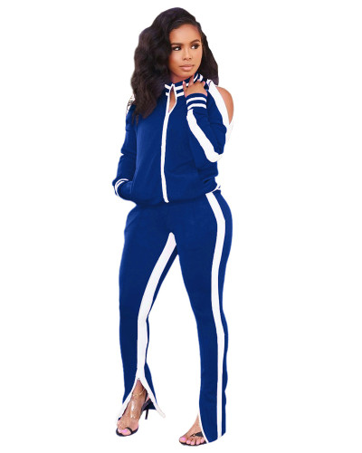 Blue Two-piece casual fashion suit