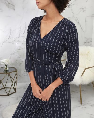 Blue Printed long-sleeved V-neck jumpsuit