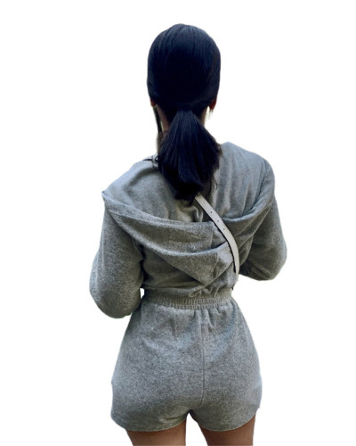 Gray Fashion casual sports women's jumpsuit
