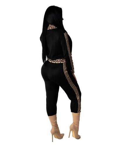 Black Two-piece printed slim fit suit